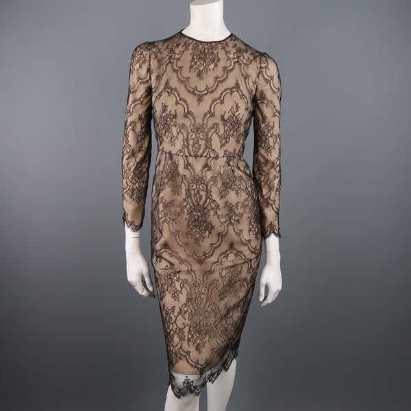 DENNIS BASSO Size 4 Beige Black Lace Overlay Long Sleeve Cocktail Dress