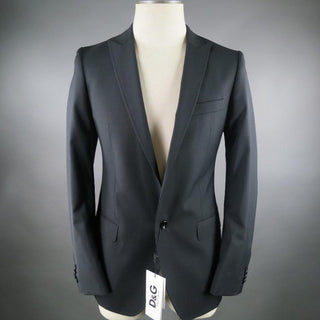 D&G by DOLCE & GABBANA Regular Black Solid Wool Sport Coat
