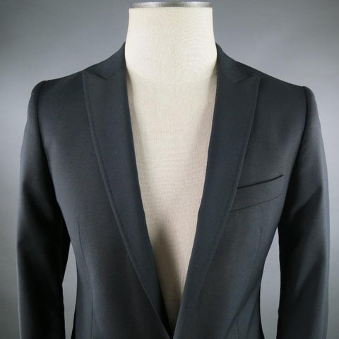 D&G by DOLCE & GABBANA Regular Black Solid Wool Sport Coat - Sui Generis Designer Consignment