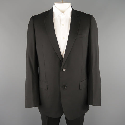 DIOR HOMME 42 Black Wool Single Breasted Notch Lapel Classic Suit