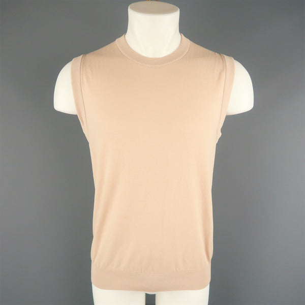 DIOR HOMME Size M Beige Wool Blend Knit Crew-Neck Vest Top