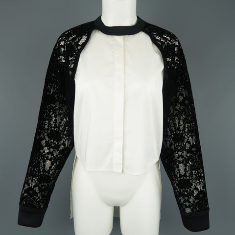 DKNY Size S Black & White Velvet Lace Sleeve High Low Shirt