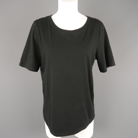 DKNY Size S Black Lace Back Jersey Crewneck  T-shirt