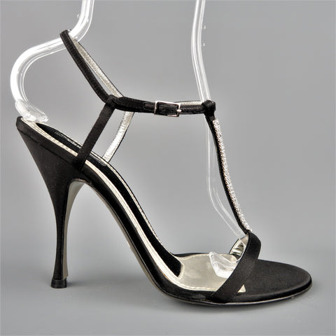 DOLCE & GABBANA 10 Black Silk & Leather Rhinestone T Strap Ankle Harness Sandals - Sui Generis Designer Consignment