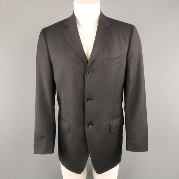 DOLCE & GABBANA 38 Short Black Diagonal Stripe Wool Notch Lapel  Sport Coat