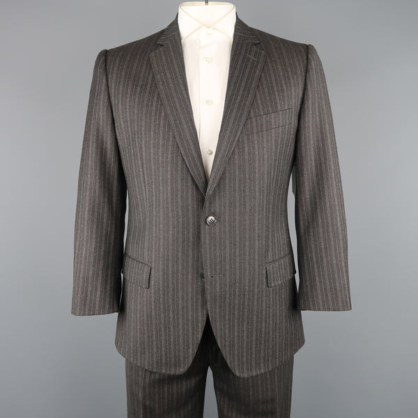 DOLCE & GABBANA 42 Regular Charcoal Pinstripe Wool Notch Lapel Suit - Sui Generis Designer Consignment