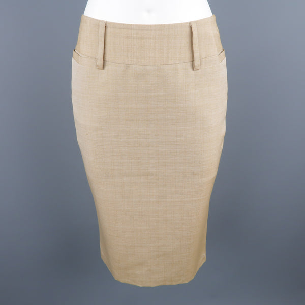 DOLCE & GABBANA Size 2 Beige Silk Pencil Skirt