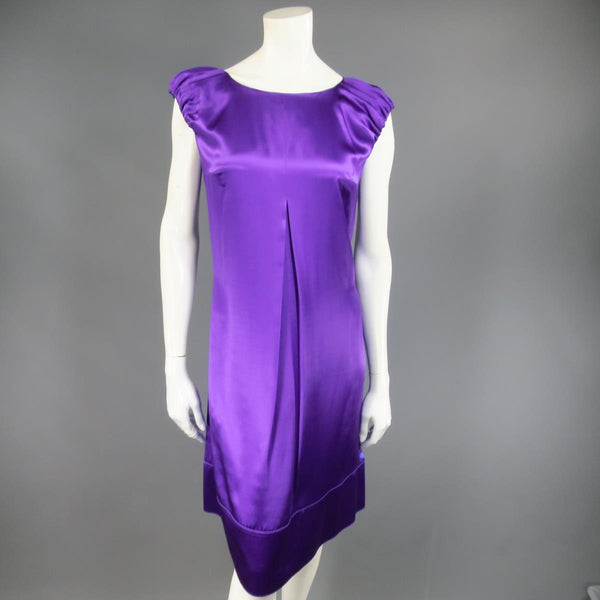 DOLCE & GABBANA Size 4 Purple Silk Satin A Line Short Puff Sleeve Cocktail Dress