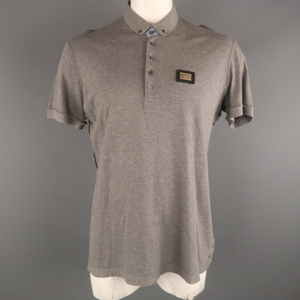 DOLCE & GABBANA Size 40 Gray Solid Cotton Button Down POLO