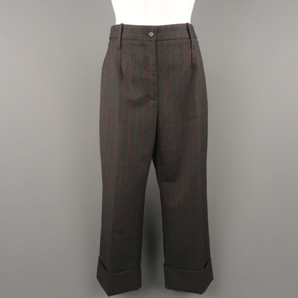 DOLCE & GABBANA Size 6 Charcoal & Red Chalkstripe Wool Cuffed Dress Pants