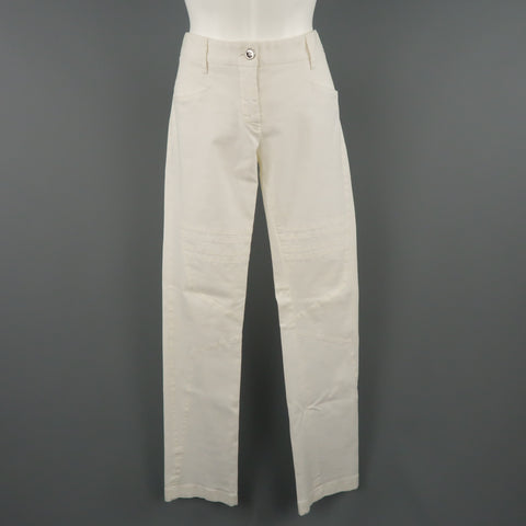 DOLCE & GABBANA Size 6 White Stretch Cotton Moto Detail Skinny Pants