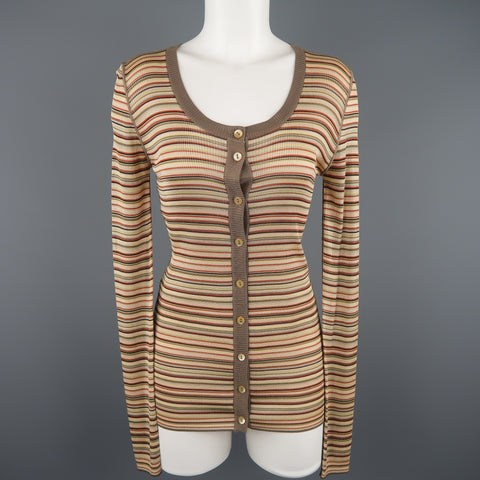 DOLCE & GABBANA Size 8 Beige Rayon / Silk Striped Scoop Neck Cardigan