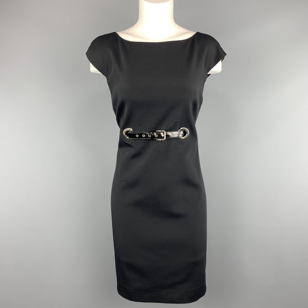 DOLCE & GABBANA Size 8 Black Patent Belt Grommet Shift Dress