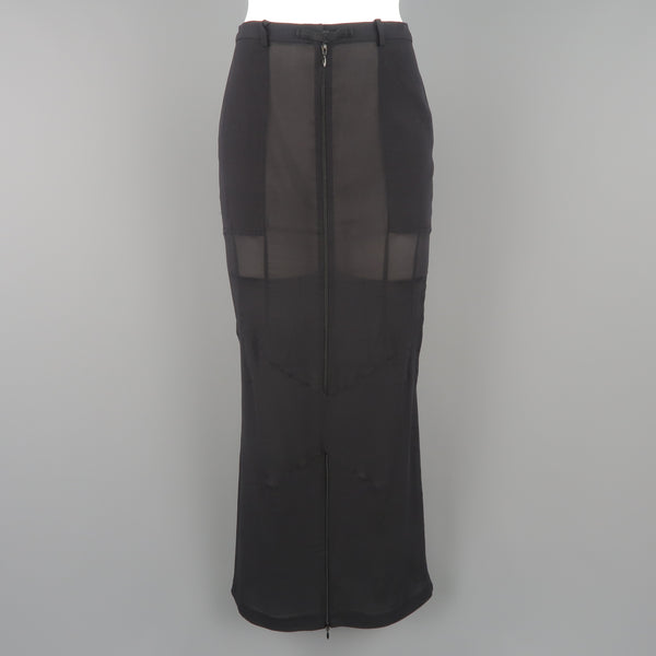 DOLCE & GABBANA Size S Black Stretch Chiffon Zip Long Fishtail Skirt - Sui Generis Designer Consignment