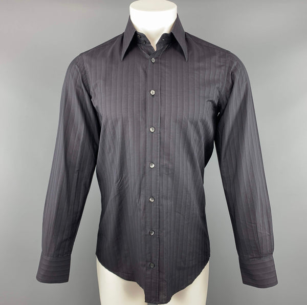 DOLCE & GABBANA Size S Black Stripe Cotton Button Up Long Sleeve Shirt