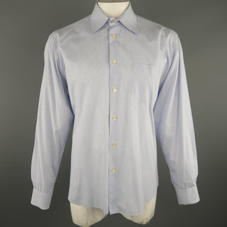 DOLCE & GABBANA Size XL Navy & White Window Pane Cotton Long Sleeve Shirt