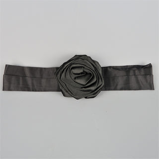 DONNA KARAN Black Silk Satin Rose Sash Belt - Sui Generis Designer Consignment