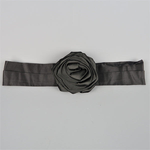 DONNA KARAN Black Silk Satin Rose Sash Belt