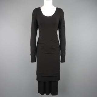DONNA KARAN Size M Black Layered Jersey Long Sleeve Maxi Sheath Dress