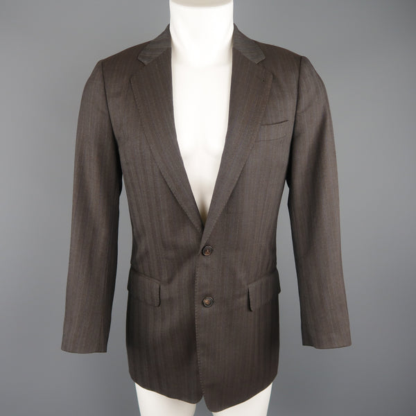 DRIES VAN NOTEN Chest Size 36 Brown Stripe Regular Wool Blend Sport Coat