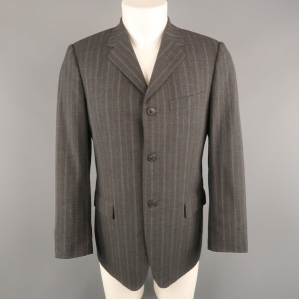 DRIES VAN NOTEN 38 Size 38 Gray & Blue Stripe Wool Notch Lapel  Sport Coat