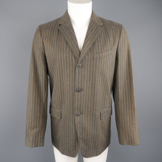 DRIES VAN NOTEN 38 Taupe Striped Herringbone  Cotton Notch Lapel Sport Coat