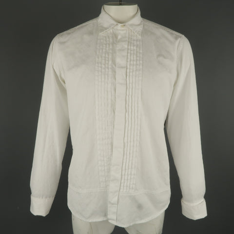 DRIES VAN NOTEN L White Jacquard French Cuff Pleated Front Long Sleeve Shirt