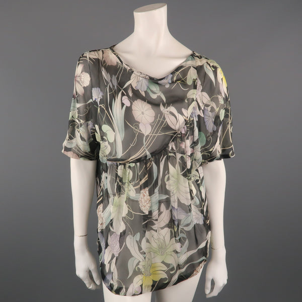 DRIES VAN NOTEN Size 10 Grey Floral Silk Chiffon Asymmetrical Blouse