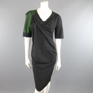 DRIES VAN NOTEN Size 2 Asymmetrical Black Draped Green Military Sleeve Dress