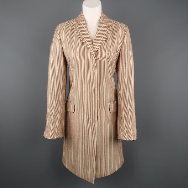 DRIES VAN NOTEN Size 4 Beige & Red Striped Silk / Linen Notch Lapel Coat