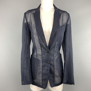 DRIES VAN NOTEN Size 6 Navy Blue Sheer Cotton Jacket / Blazer