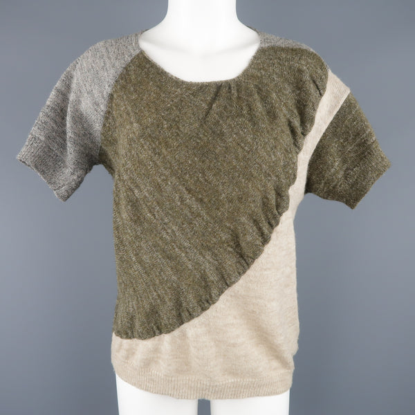DRIES VAN NOTEN Size S Olive Silver & Beige Wool Blend Short Sleeve Pullover