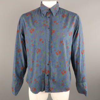 DRIES VAN NOTEN Size XL Navy & Brick Floral Cotton French Cuff Long Sleeve Shirt