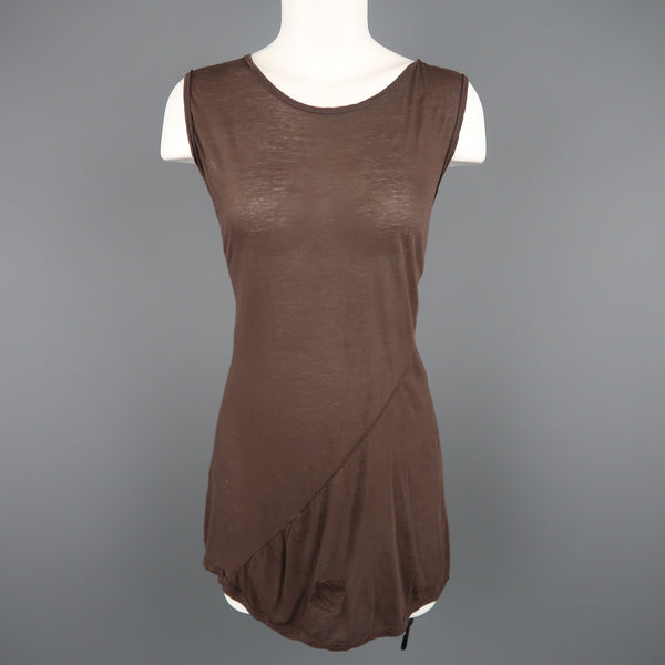 DRKSHDW Size M Brown Viscose /silk Burnout Jersey Tank Top - Sui Generis Designer Consignment
