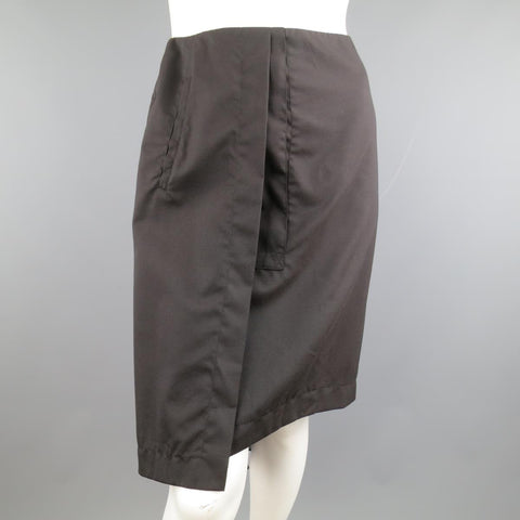 DROZDZIK Size 6 Black Pleated Wool Sheer Fishtail Pencil Skirt