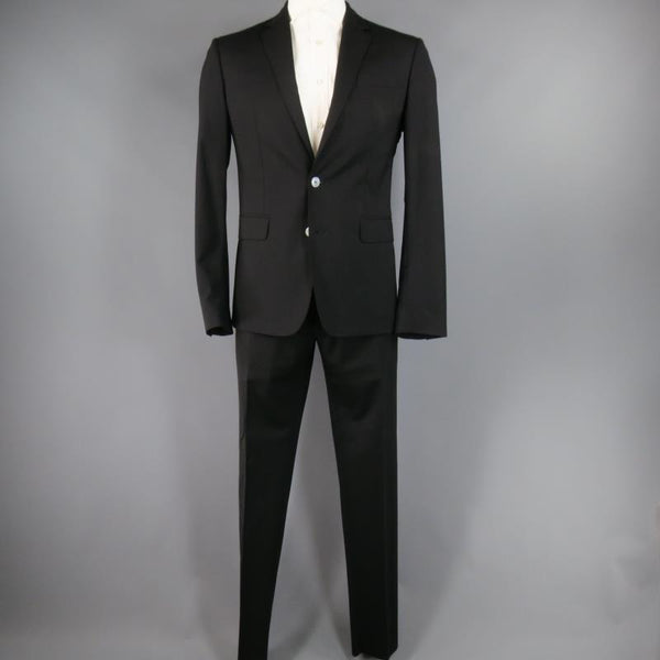 DSQUARED2 42 Short Black Solid Wool Blend 33 35 Suit
