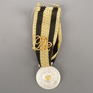 DSQUARED2 Black And Gold Stripe Ribbon Medallion Pin
