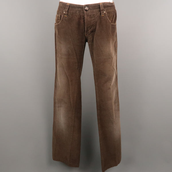 DSQUARED2 Size 30 Brown Solid Corduroy 33 Button Fly Casual Pants