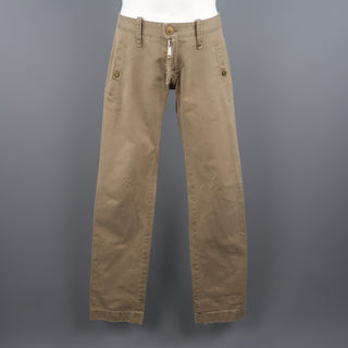 DSQUARED2 Size 30 Khaki Solid Cotton Casual Pants