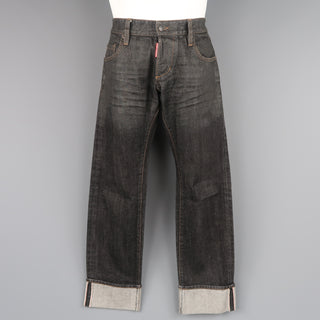 DSQUARED2 Size 32 Black Distressed Wax Coated Selvedge Denim Jeans - Sui Generis Designer Consignment