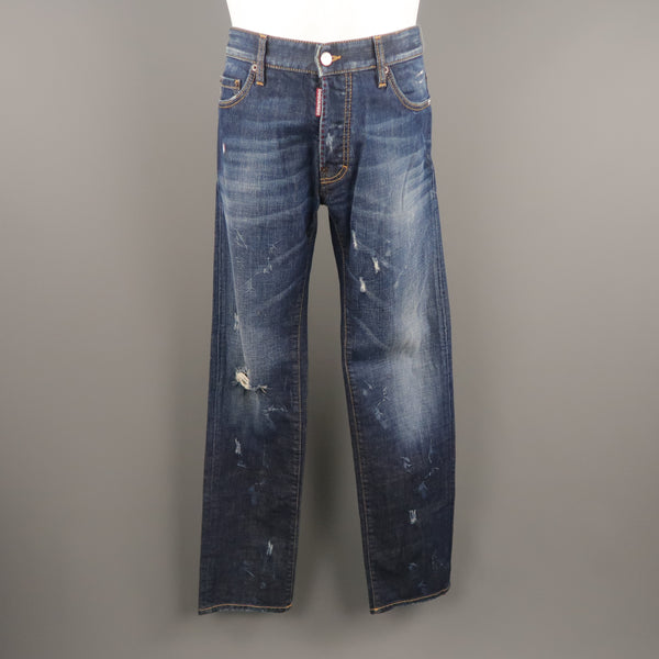 DSQUARED2 Size 34 Indigo Denim Distressed Jeans