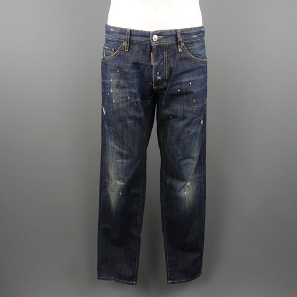 DSQUARED2 Size 34 Indigo Distressed Denim Jeans
