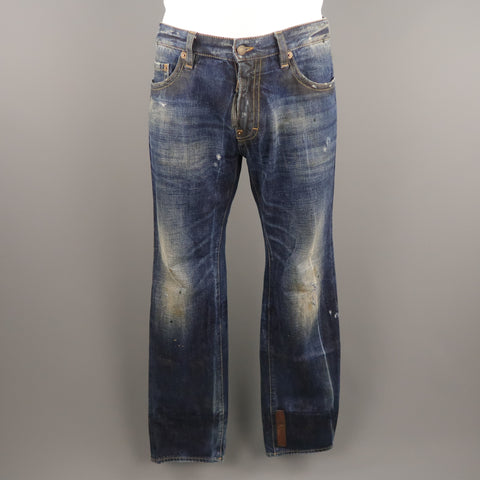 DSQUARED2 Size 34 Indigo Distressed Denim 34 Zip Fly Jeans