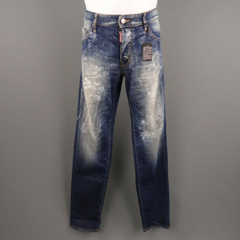 DSQUARED2 Size 34 Indigo Painted Denim 34 Button Fly Jeans