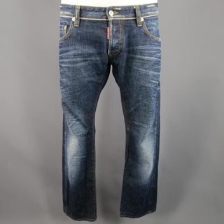 DSQUARED2 Size 34 Washed Indigo Selvedge Distressed Denim Jeans - Sui Generis Designer Consignment