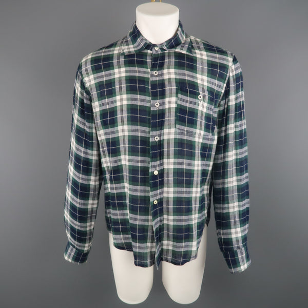 DSQUARED2 Size 42 Green & Blue Plaid Cotton Button Up Long Sleeve Shirt