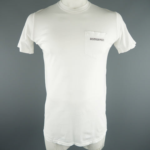"DSQUARED2 Size L White Graphic ""Ruff Tucker"" Cotton T-shirt - Sui Generis Designer Consignment"