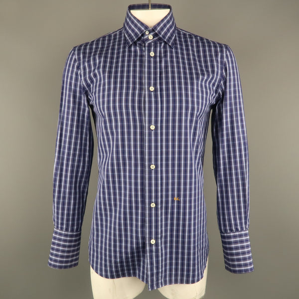 DSQUARED2 Size XL Navy Plaid Cotton Button Up Long Sleeve Shirt