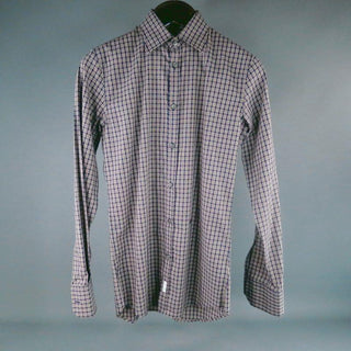 DSQUARED2 Size XS Navy Plaid Cotton Long Sleeve Shirt