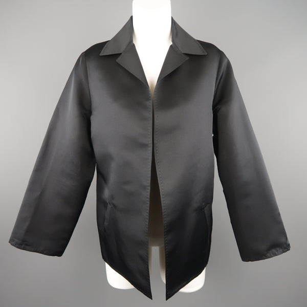 DUSAN Size M Black Silk Satin Collared Open Front Jacket